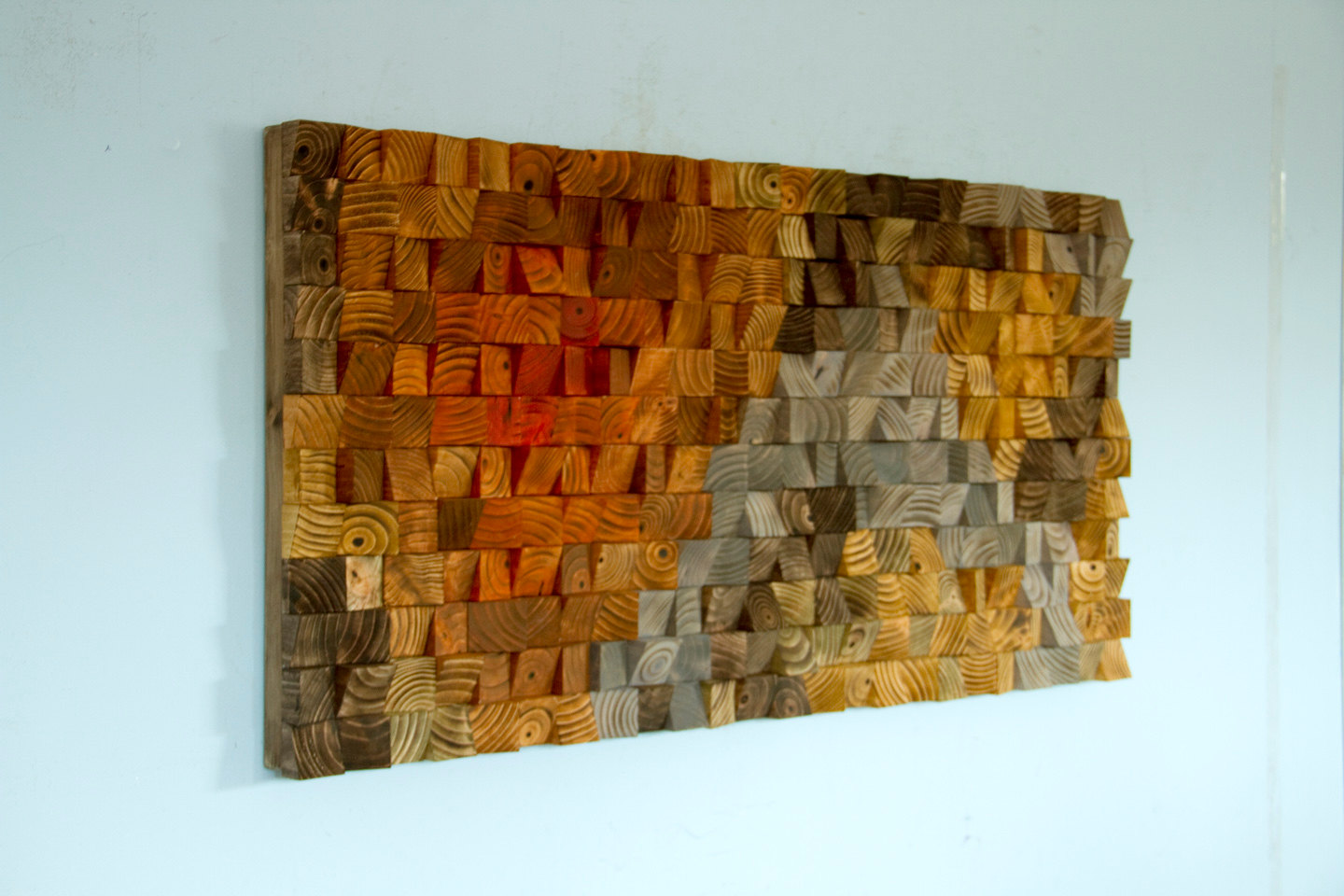 Large rustic art wood wall sculpture abstract painting for Rustic wood wall art
