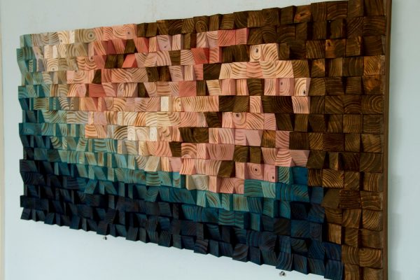 Large Wood Wall Art, 2017 colour trends, geometric art, Cherry Blossom