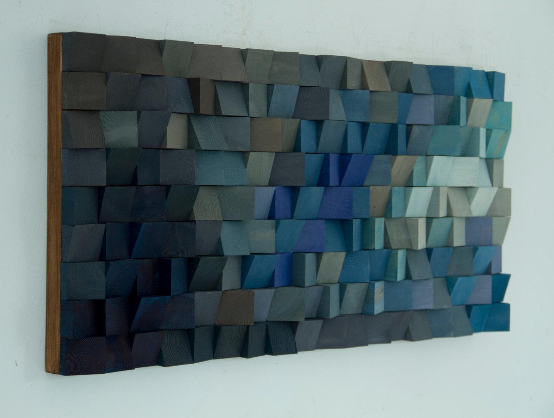 Geometric Home Decor Large Wood Wall Art Monochromatic Art In Blues New 2017