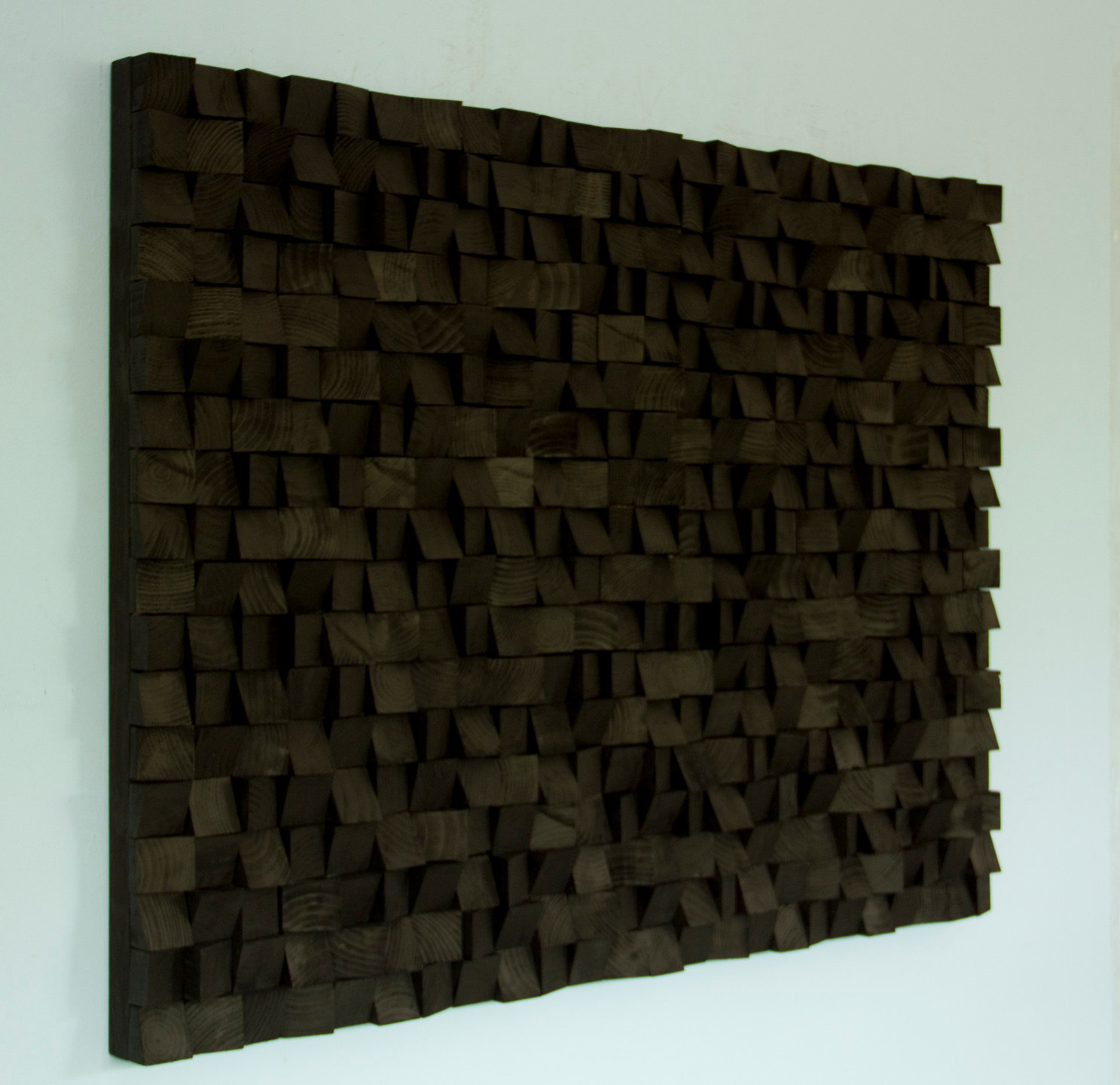 Large wood wall art monochromatic black art geometric for Big wall art
