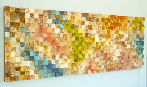 Large Wood Wall Art, wood art mosaic, 2016 colour trends, geometric art