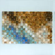 "Large Wood wall Art, wood mosaic, geometric art 24""x 108"" - ""Fighting River"""