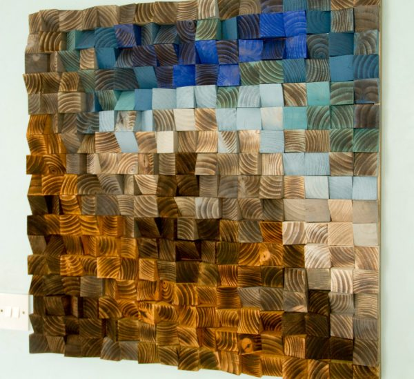 "Large Wood wall Art, wood mosaic, geometric art, large art painting on wood - ""Fighting River"""