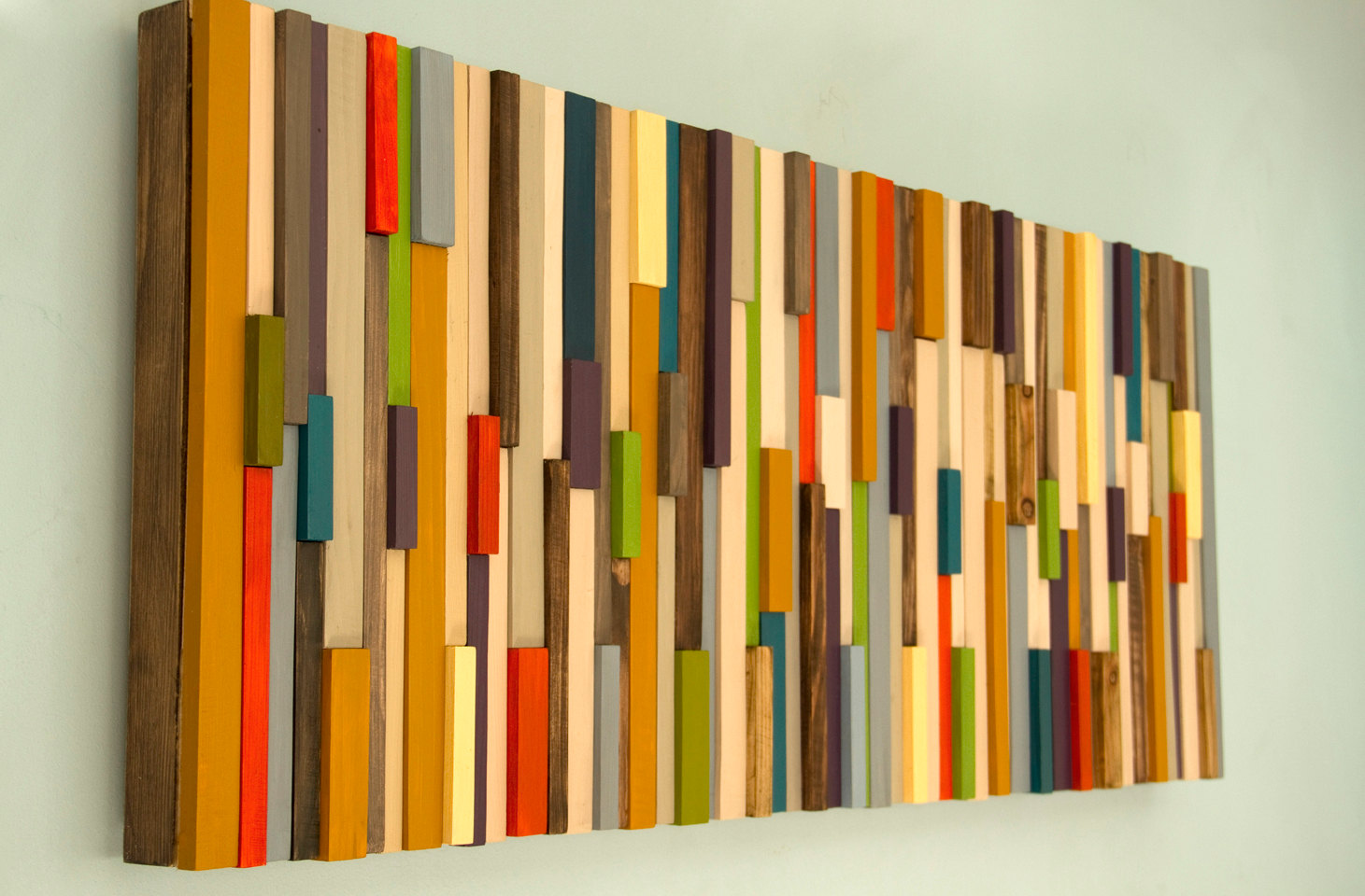 Mid Century wall art, reclaimed wood art sculpture, SALE painted wood pieces, 2016 colour trends