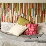 "Modern Headboard Reclaimed Wood Furniture, earth tones, green, blue, copper, 30"" x 90"""