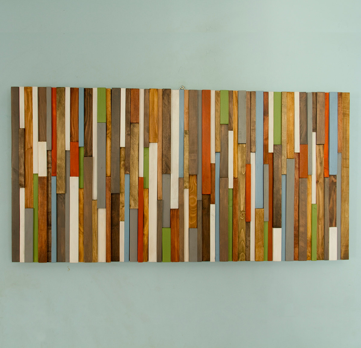Modern Headboard Wood Wall Art Sculpture Earth Tones Green Blue Copper 3