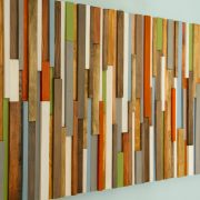 "Modern Headboard Wood Wall Art Sculpture, earth tones, green, blue, copper, 30"" x 72"""