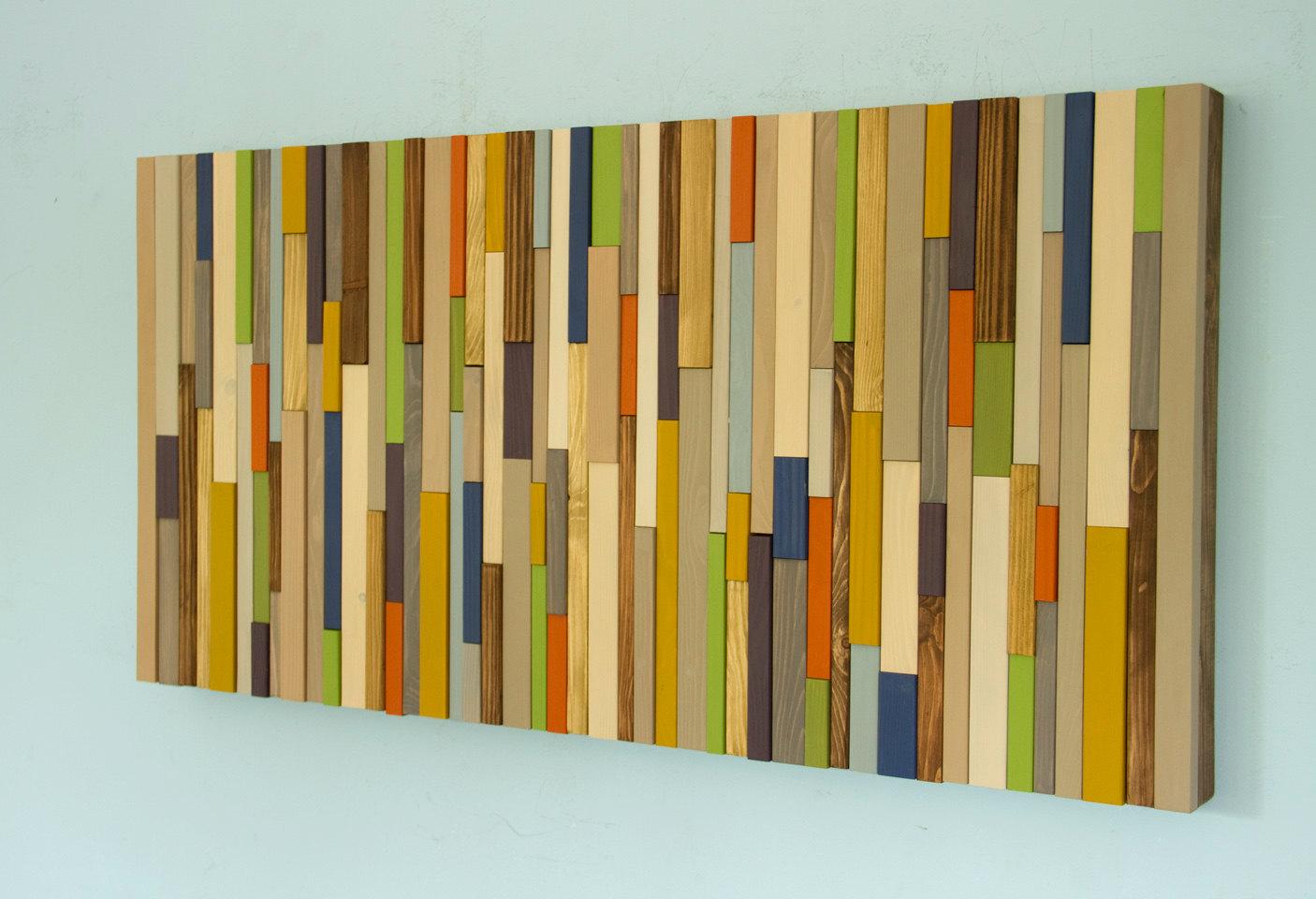 Modern wood art, Mid century wood wall art, new sculpture 2017 colour trends