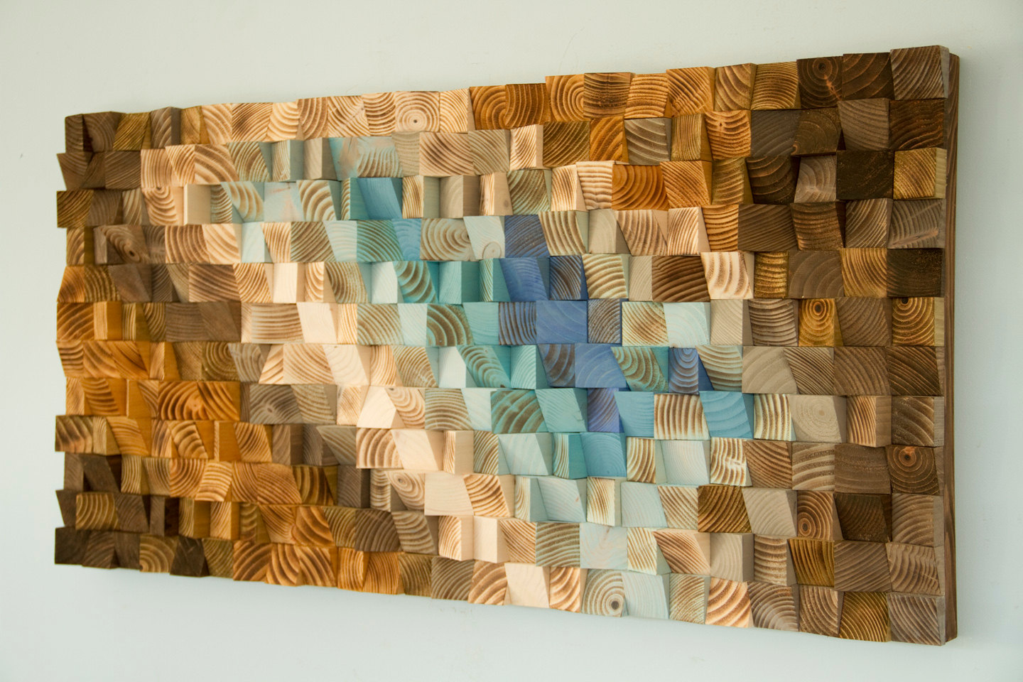 Modern wood wall art wood mosaic geometric art wood for Art wall decoration