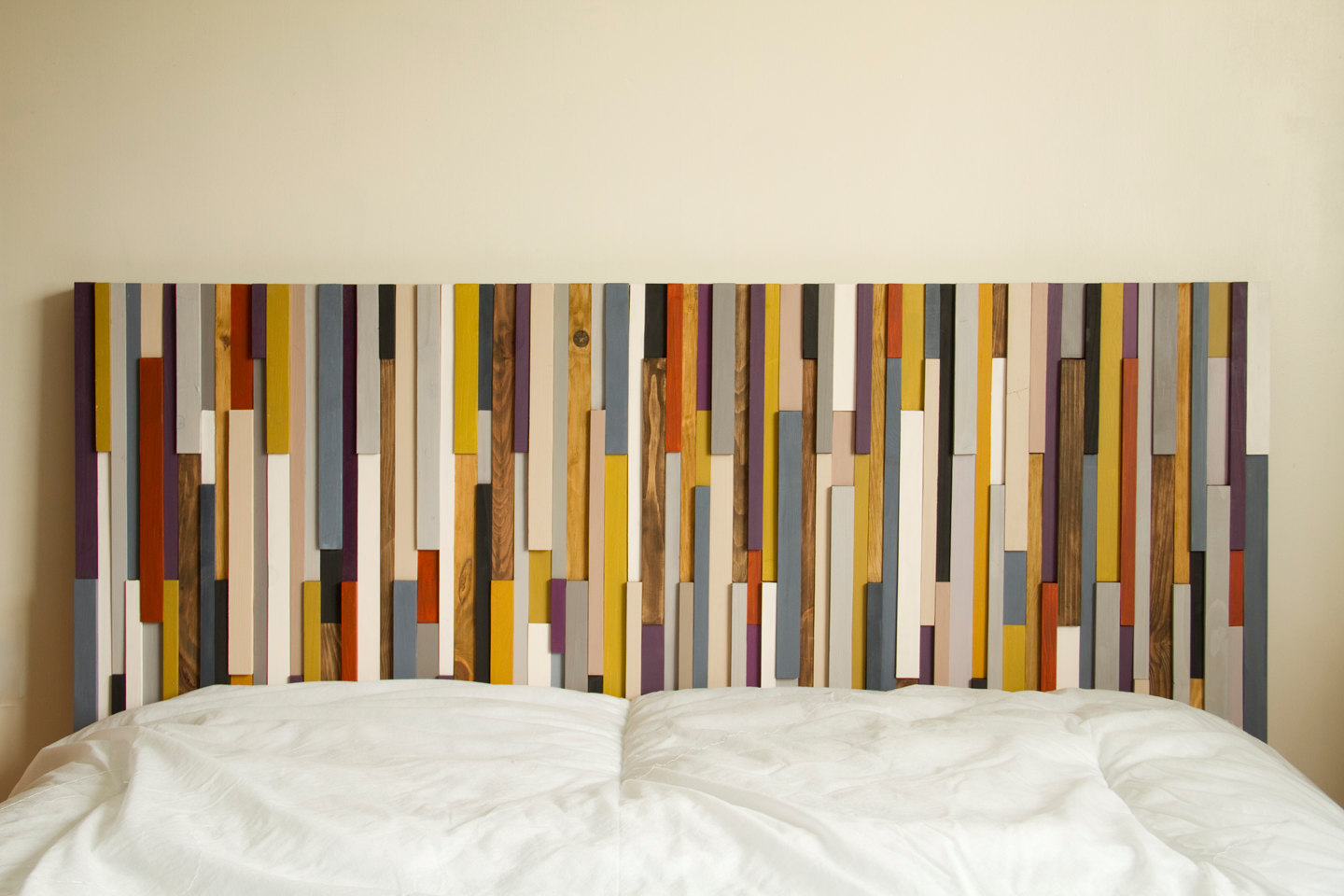 Reclaimed Wood Art, wood wall art sculpture, painted wood art pieces, 24 x 64, headboard, mustard, aubergine, beige, walnut, yew, oak