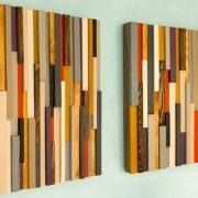 Reclaimed Wood Art, wood wall art sculpture, painted wood art pieces, 24 x 64, headboard, mustard, aubergine, beige, walnut, yew, oak