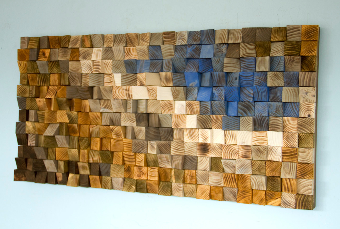 "Reclaimed Wood wall Art, wood mosaic, geometric art, wood wall art - ""Fighting River"""