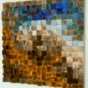 "Reclaimed Wood wall Art, wood mosaic, geometric art, wood wall art - ""Fighting River"""