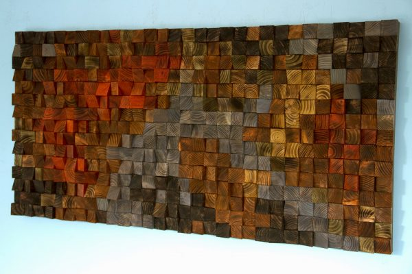 Rustic Wood Art, wood wall sculpture, abstract painting on wood