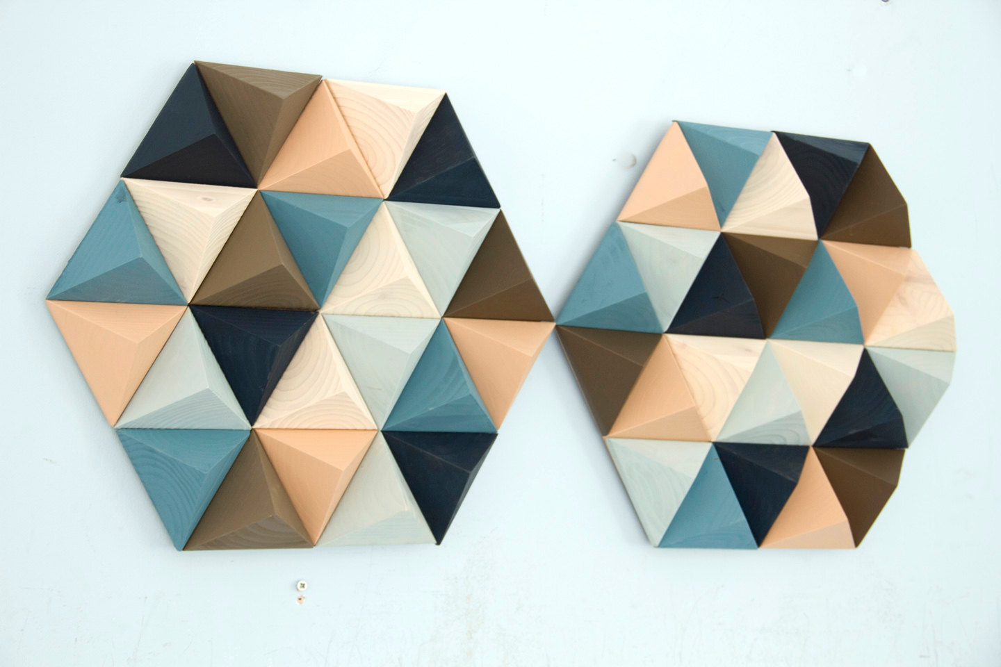 Wood Wall art geometric, hexagon, set of 2, mid century wall art, SALE unique wood art by Kasia Mc Art