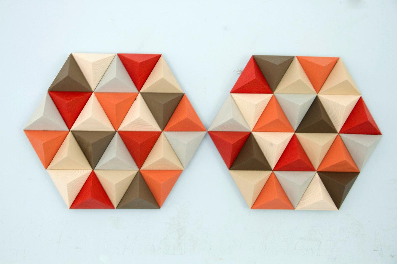 Wood Wall art geometric, hexagon, set of 2, mid century wall art, SALE unique wood art by Kasia Mc Art