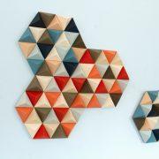 Wood Wall art, geometric, hexagons, set of 4, mid century wall art, SALE unique wood art by Kasia Mc Art