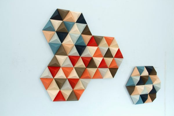 Wood Wall art, geometric, hexagons, set of 4, mid century wall art, SALE unique wood art by Kasia Mc Art