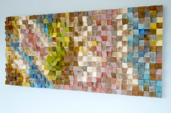 Wood Wall Art, geometric wood art, mosaic, Spring 2016 colour trends