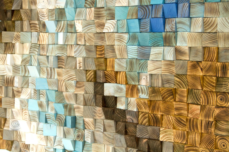 "Wood wall Art Mosaic, office wall decor, geometric art, 24"" x 36"" ""Fighting River"""
