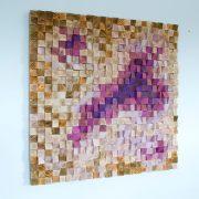 "Wood Wall art, Office Wall Decor, Wood Art Sculpture , geometric mosaic, 40"" x 40"""