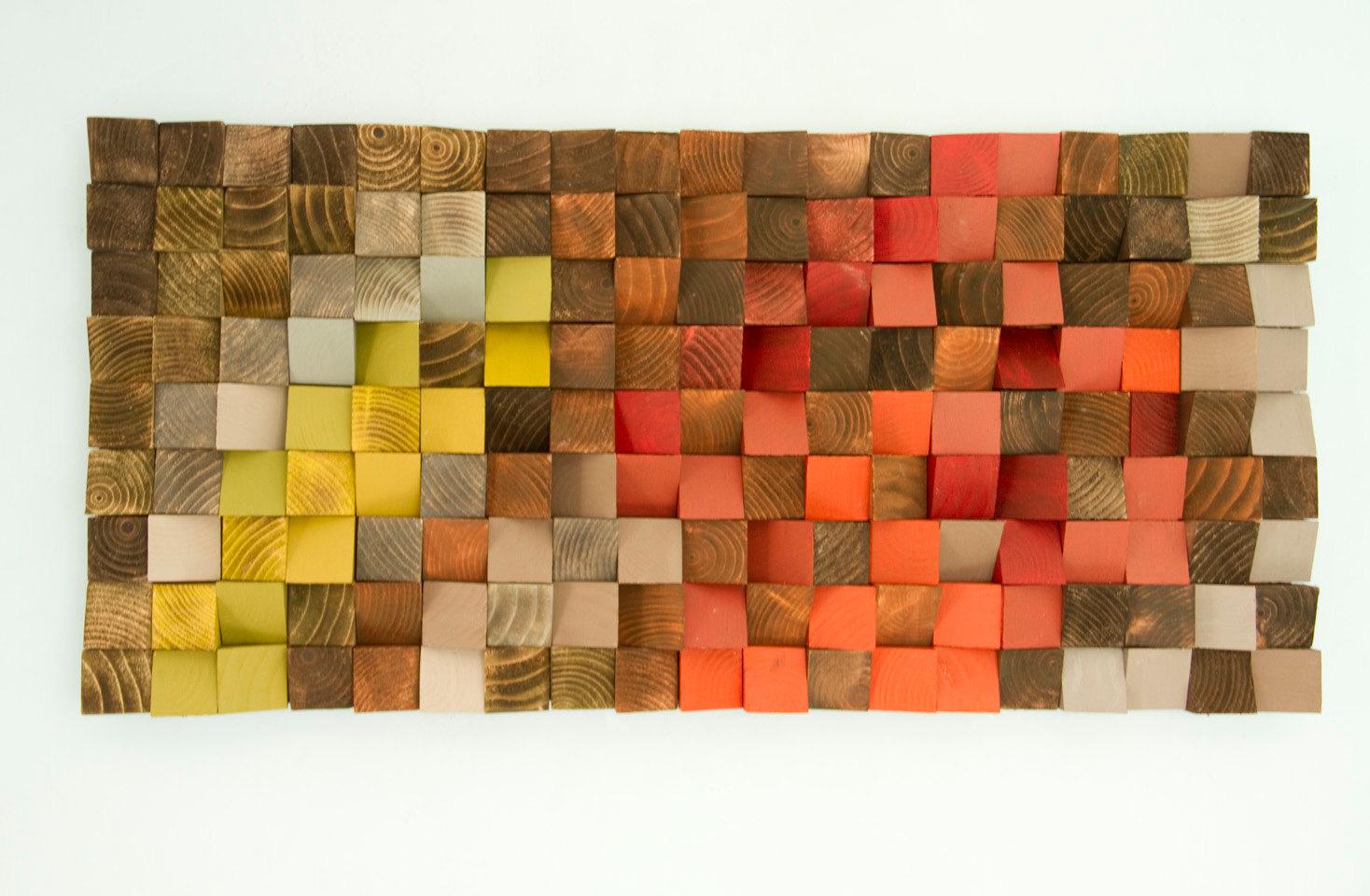 "Wood Wall Art, reclaimed wood art, industrial decor, ""Fire sparks"""