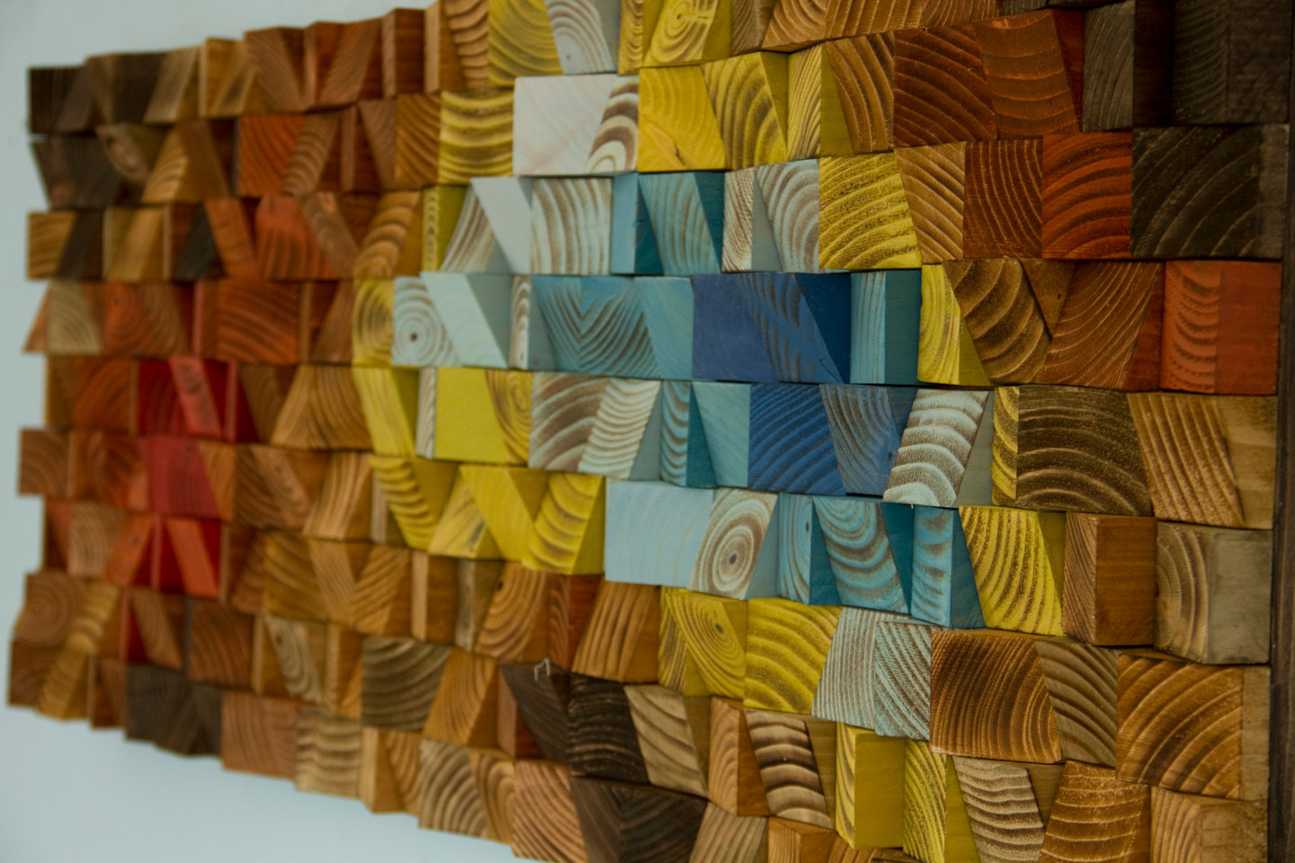 "Wood Wall Art, reclaimed wood art mosaic, ""The Northern Lights"""