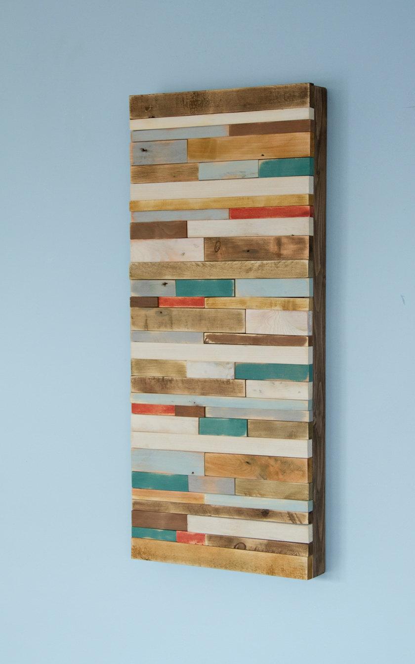 "Wood Wall Art Rustic 12"" x 28"" industrial reclaimed wall sculpture"
