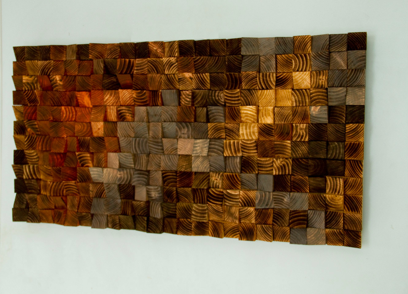 Wood wall art wood sculpture mosaic geometric art art for Wall artwork paintings