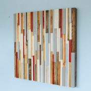 "Wood Wall Sculpture Art Rustic Industrial reclaimed wood 42 x 42""  wood pieces grey, walnut, yew, oak, blue, white"