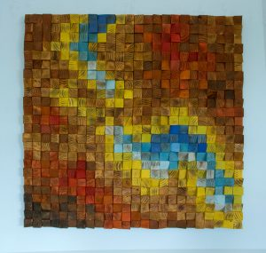 "Custom Wall art, Wood wall Art Sculpture , earth tones, geometric mosaic, 40"" x 40"""