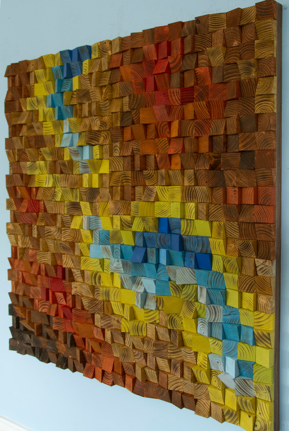 "Custom Wall art, Wood wall Art Sculpture , earth tones, geometric mosaic, 40"" x 40"""