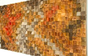 Large Rustic Art, wood wall sculpture, abstract painting on wood