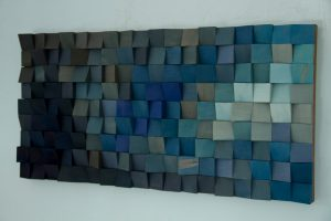 Large Wood Wall Art, monochromatic art in blues, new 2017 designs, acoustic sound diffuser
