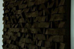 Large Wood wall Art, monochromatic black art, geometric wooden art