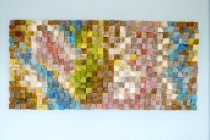 Large Wood Wall Art, wood art mosaic, 2016 colour trends, geometric art