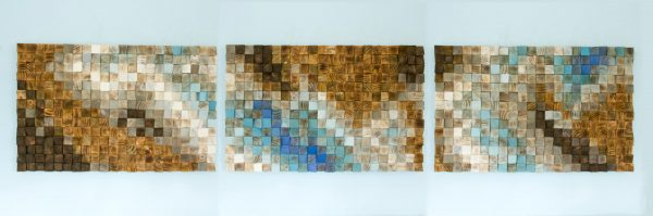 "Large Wood wall Art, wood mosaic, geometric art 24""x 108"" - ""Fighting River"""