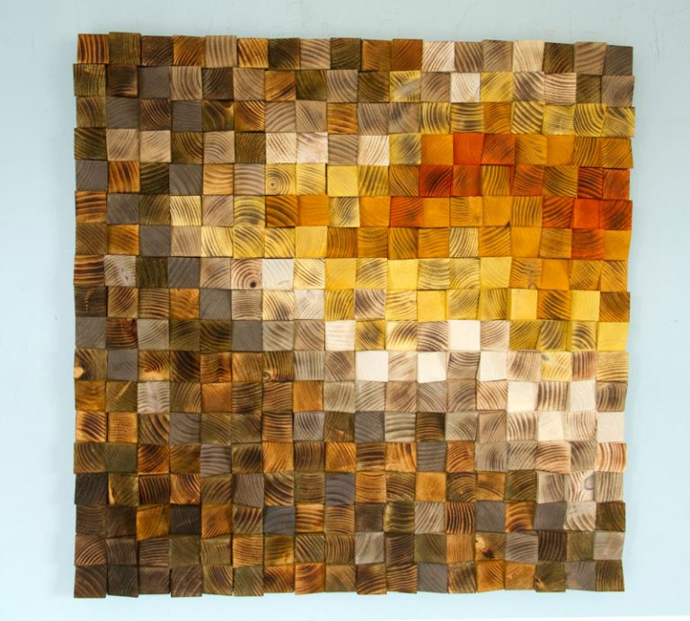 Large Wood wall Art, wood mosaic, geometric art, large art painting on wood