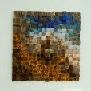 "Large Wood wall Art, wood mosaic, geometric art, large art painting on wood - ""Fighting River"""