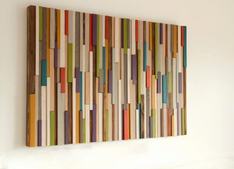Mid Century wall art, reclaimed wood art sculpture, painted wood pieces, 2015 colour trends