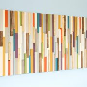 Mid Century wall art, reclaimed wood art sculpture, painted wood pieces, 2016 colour trends