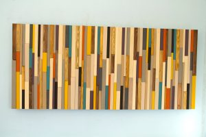 Mid Century wall art, reclaimed wood art sculpture, painted wood pieces, 2017 colour trends