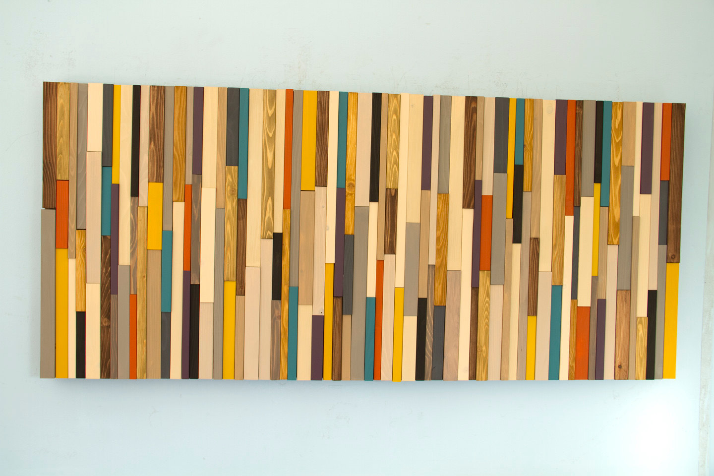 Mid Century wall art, reclaimed wood art sculpture, painted wood ...