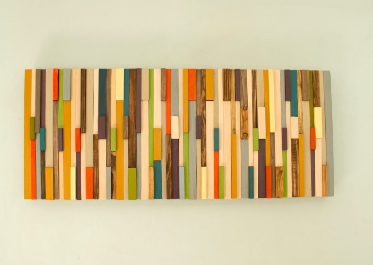 Mid Century wall art, reclaimed wood art sculpture, SALE painted wood pieces, 2016 and 2017 colour trends
