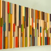 Modern Large wall art, reclaimed wood art sculpture, painted wood pieces, 2016 colour trends