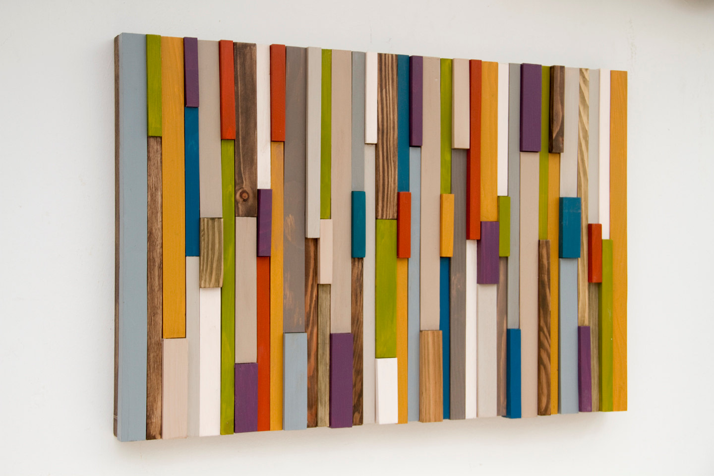 "Modern Wood Art Sculpture 3D reclaimed wood 2015 colour trends 16"" x 24"""