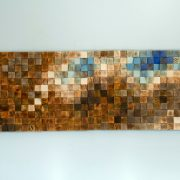 "Mosaic Wood Art, wood wall art, geometric art, large art painting on wood - ""Fighting River"""