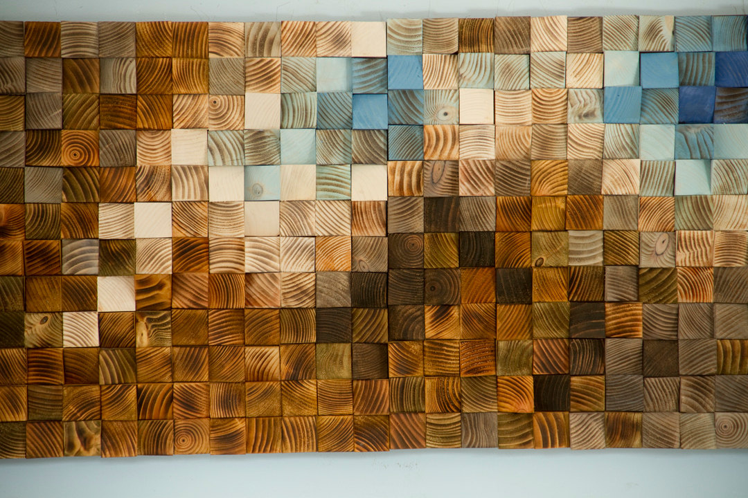 Mosaic wood art wood wall art geometric art large art for Mural on wood