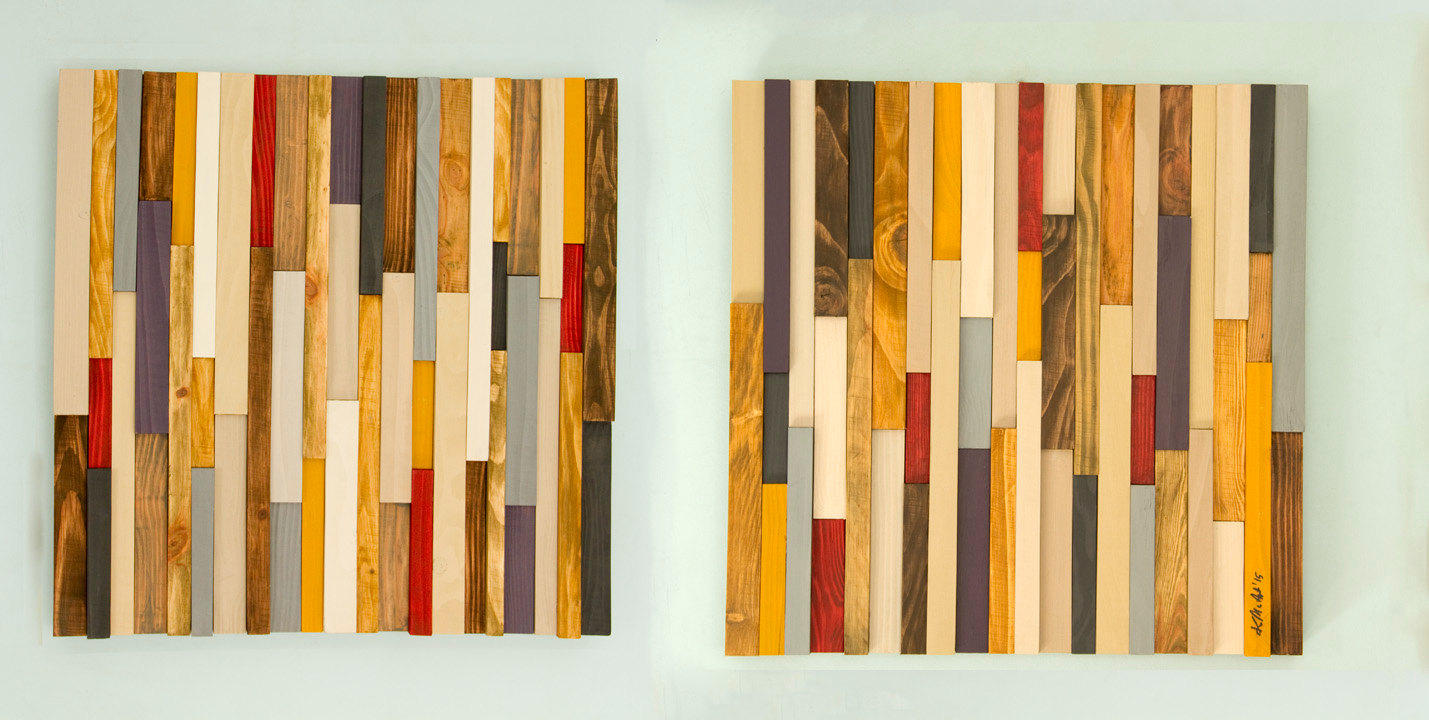 Reclaimed Wood art, modern wood art 3D, set of 2