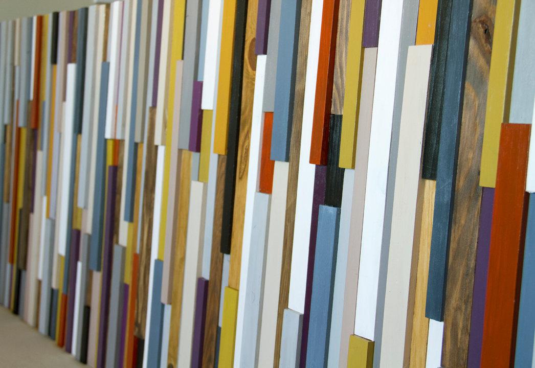 Reclaimed Wood Art, wall sculpture 3D framed, painted wood pieces, mustard, aubergine, beige, walnut, yew, oak